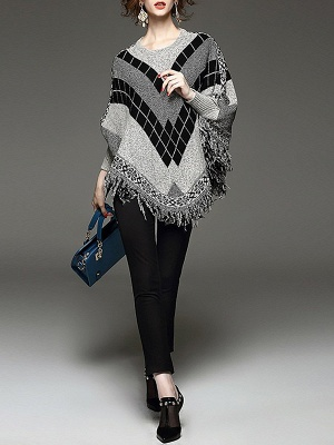 Shift Batwing Fringed Casual Sweater_3