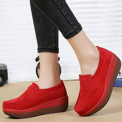 Wedge Heel Daily Round Toe Casual Loafers_1