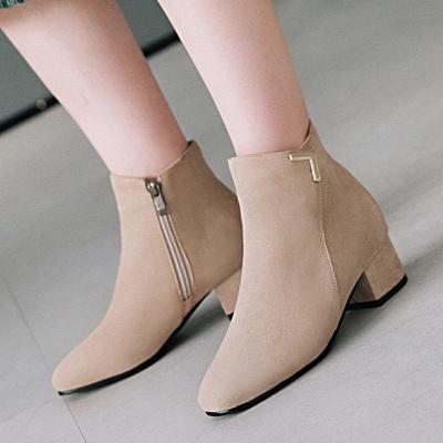 Zipper Chunky Heel Suede Boots_2