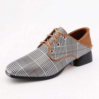 Checkered Lace-up Daily Square Toe Oxfords_1