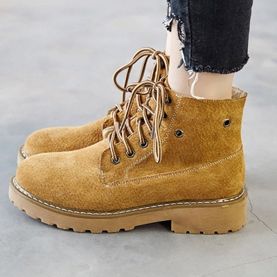Leather Chunky Heel Lace-up Round Toe Boots_1
