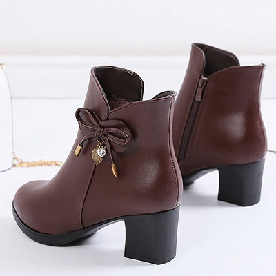 Bowknot Daily Chunky Heel Pointed Toe Zipper Elegant Boots_11
