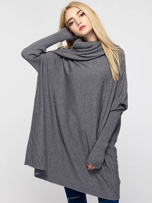 Casual Solid Long Sleeve Shift Sweater_3