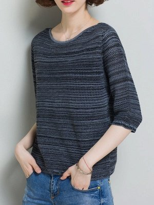 Casual Solid Crew Neck Half Sleeve Ice Yarn Knitted Sweater_10