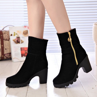 Chunky Heel Suede Fall Zipper Daily Round Toe Boot_2