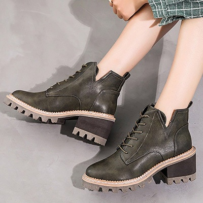 Daily Lace-up Chunky Heel Round Toe Boots