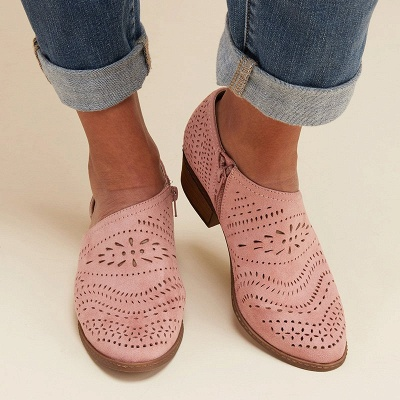Hollow-out Low Heel Summer Faux Suede Boot_20