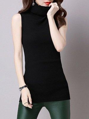 Casual Solid Sleeveless Ribbed Sheath Sweater_2