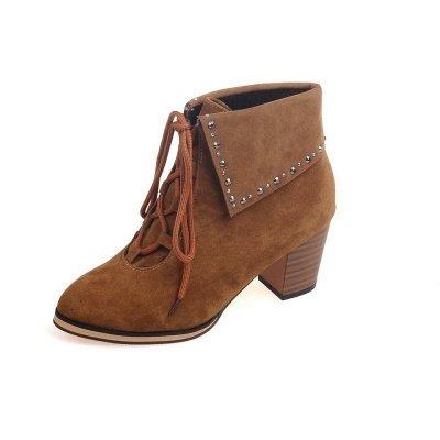 Chunky Heel Daily Rhinestone Pointed Toe Boots_14