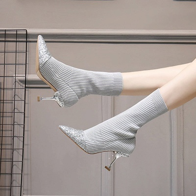 Daily Pointed Toe Cone Heel Knitted Fabric Elegant Boots_8