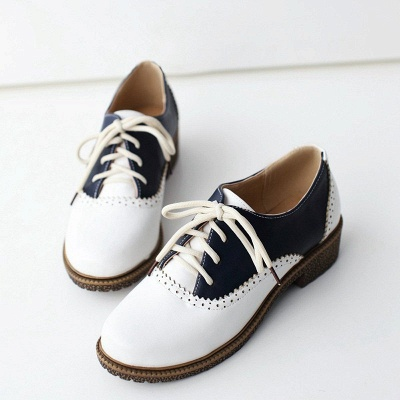 Lace-up Daily Chunky Heel Color Block Oxfords_10