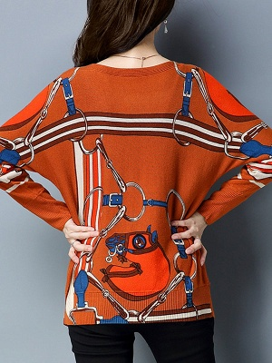 Long Sleeve Printed Shift Casual Sweater_4