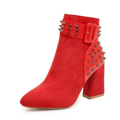 Suede Chunky Heel Daily Lace-up Rivet Boots_1