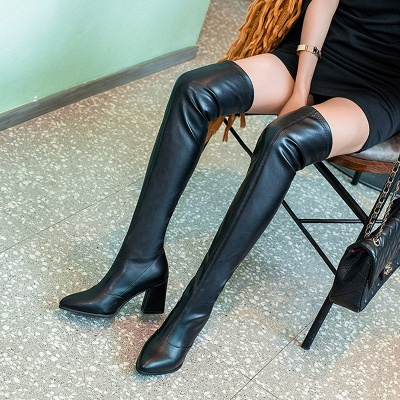 Black Winter Chunky Heel Daily Pointed Toe PU Boot_3