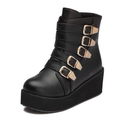 Women's Boots Black Round Toe Wedge Heel Boots_2