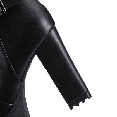 Daily Chunky Heel Zipper Round Toe Buckle Boots_17