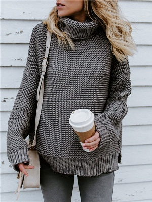 Knitted Casual Shift Long Sleeve Sweater_5