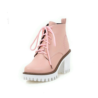 PU Lace-up Daily Round Toe Chunky Heel Boot_11