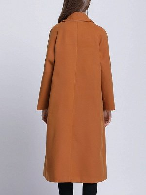 Brown Pockets Shift Solid Casual Long Sleeve Coat_3