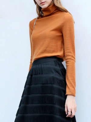 Casual Shift Long Sleeve Solid Turtleneck Sweater_2