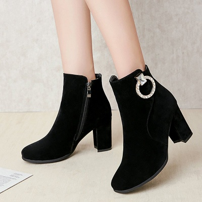 Suede Chunky Heel Working Square Toe Boots_7