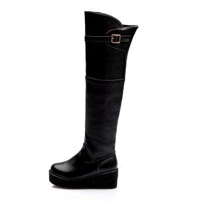 Women's Boots Wedge Heel Black Round Toe Boots_11