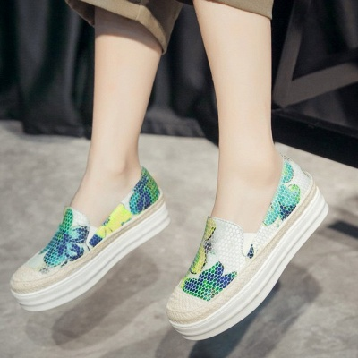 Floral Print Daily Round Toe Wedge Loafers_12