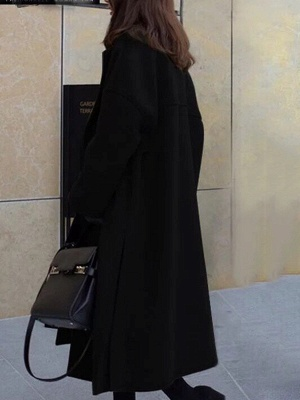 Easy Matching Casual Long sleeve Slit Cotton Solid Coat_6