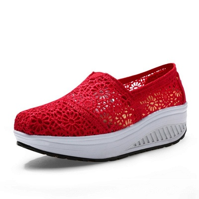 Lace Daily Breathable Fabrics Summer Round Toe Loafer Shoes_1