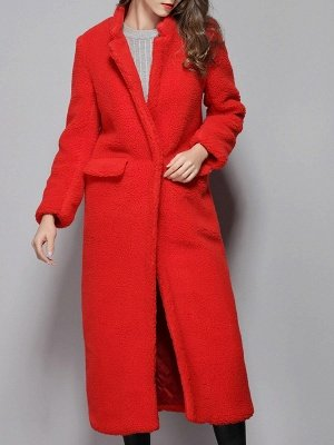 Red Shift Solid Stand Collar Long Sleeve Coat_1