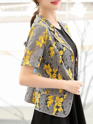 Yellow Short Sleeve Floral Guipure lace Coat_4