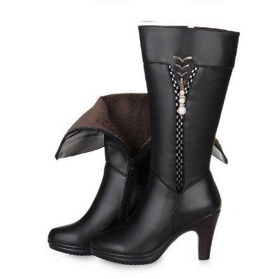 Daily Pearl Imitation Pointed Toe Chunky Heel Elegant Boots_6