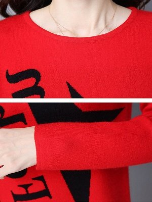 Long Sleeve Casual Letter Shift Sweater_9