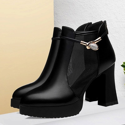 Daily Chunky Heel Buckle Pointed Toe Elegant Boots_6