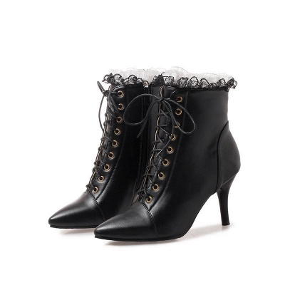 Date Fall Stiletto Heel Lace-up Pointed Toe Boots_2