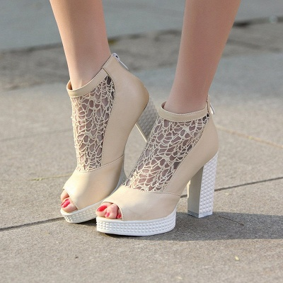 Hollow-out Daily Elegant Peep Toe Chunky Heel Boots_5
