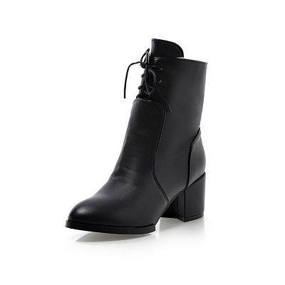 Chunky Heel Lace-up Working Pointed Toe Suede Boots_7