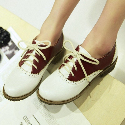 Lace-up Daily Chunky Heel Color Block Oxfords_1