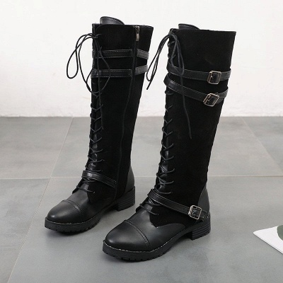 Daily Buckle Chunky Heel Suede Round Toe Lace-up Boot_7