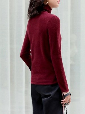 Casual Shift Long Sleeve Solid Turtleneck Sweater_8