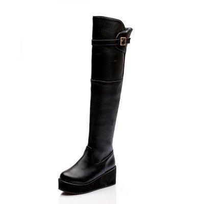 Women's Boots Wedge Heel Black Round Toe Boots_2