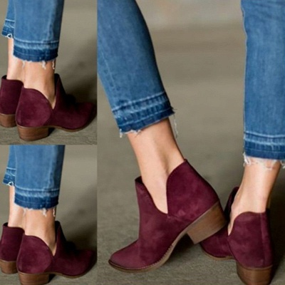 Chunky Heel Daily Pointed Toe Elegant Suede Boots_5