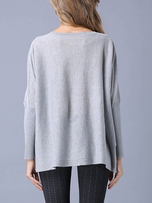 Solid Batwing Casual Knitted Crew Neck Sweater_13