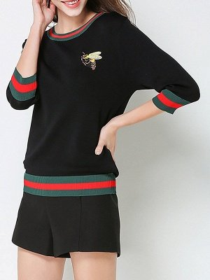 Crew Neck Knitted Embroidered 3/4 Sleeve Casual Sweater_5