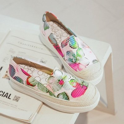 Floral Print Daily Round Toe Wedge Loafers_11