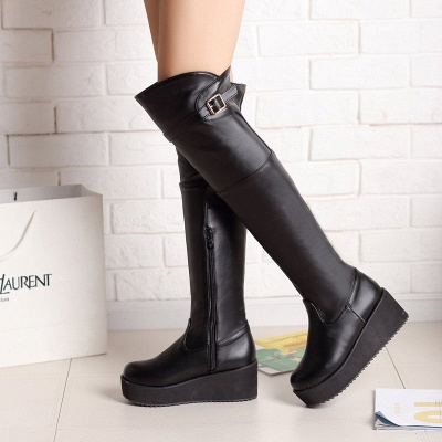 Women's Boots Wedge Heel Black Round Toe Boots_4