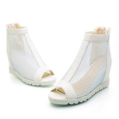 Zipper Daily Peep Toe Wedge Heel Boots_1