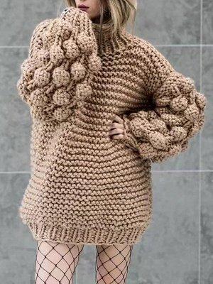 Cotton Casual Balloon Sleeve Sweater_3
