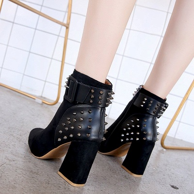 Suede Chunky Heel Daily Lace-up Rivet Boots_3