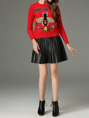 Red Animal Long Sleeve Knitted Embroidered Sweater_5